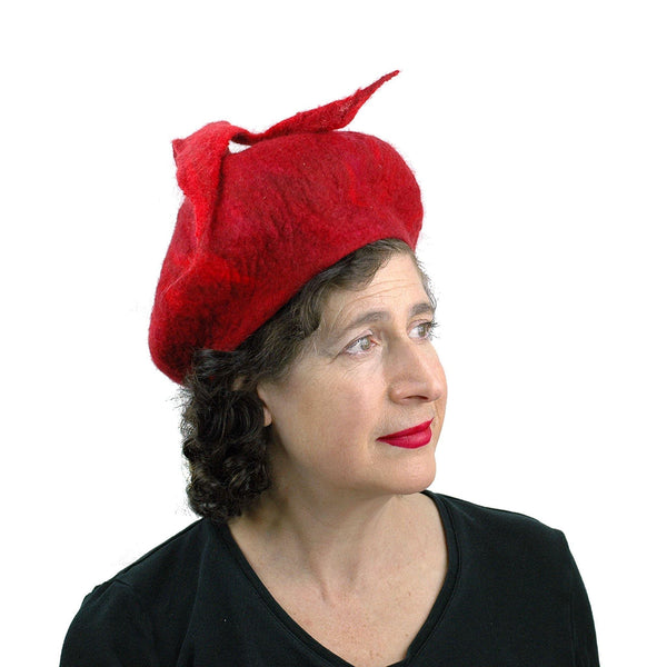 Red Felted Beret with Fishtail - threequarters view