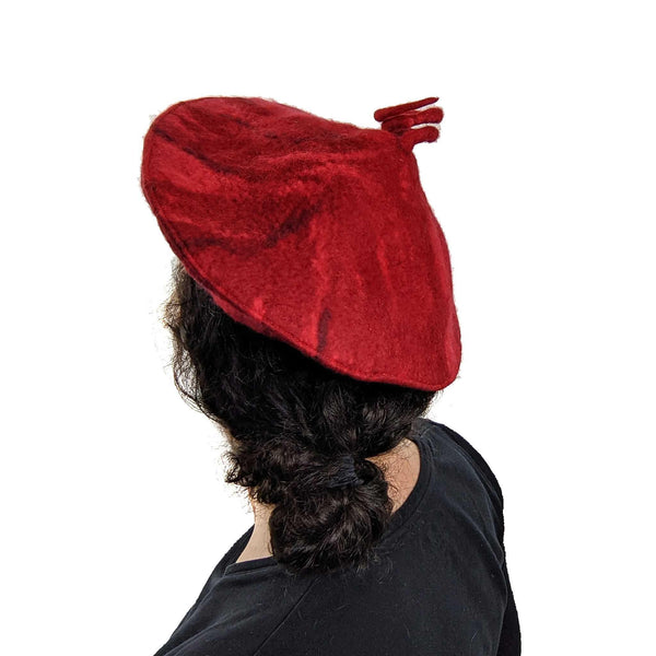 Red Felted Curlicue Hat - Extra Small - back view