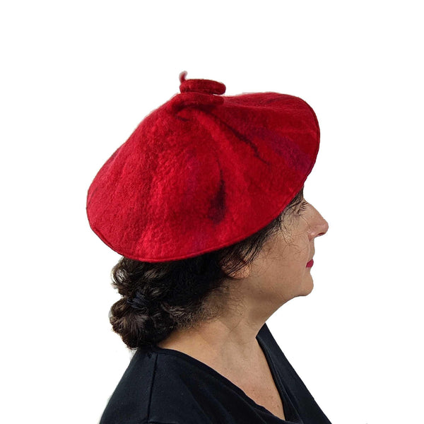 Red Felted Curlicue Hat - Extra Small - Side view