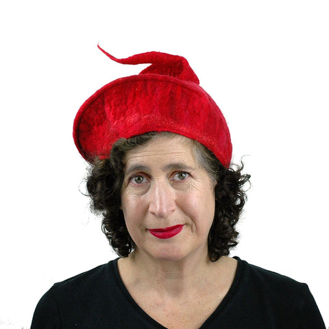 Red Felted Hat with Stylized Fish Tail - front view