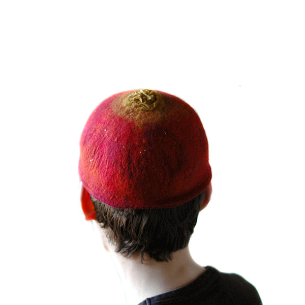 Red Felted Skullcap - back view