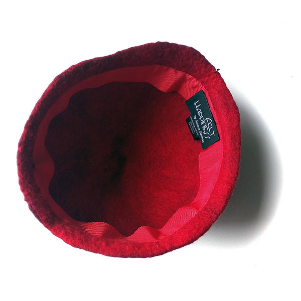 Red Felted Skullcap - inside view