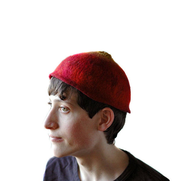 Red Felted Skullcap - side view