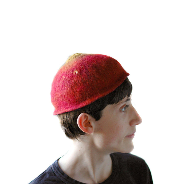 Red Felted Skullcap - side view 2