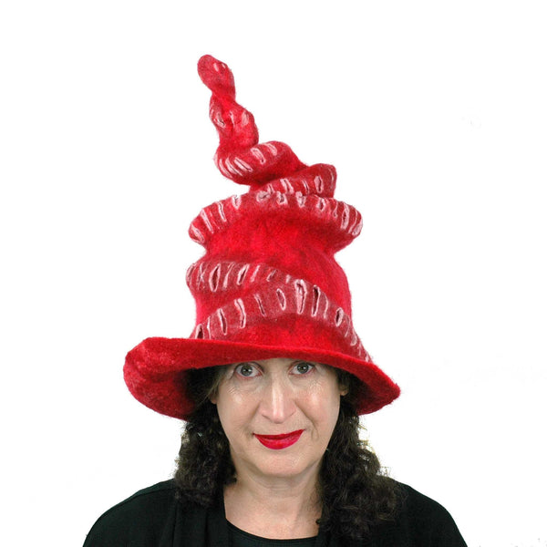 Red Felted Witch Hat with Spiral Point - front view