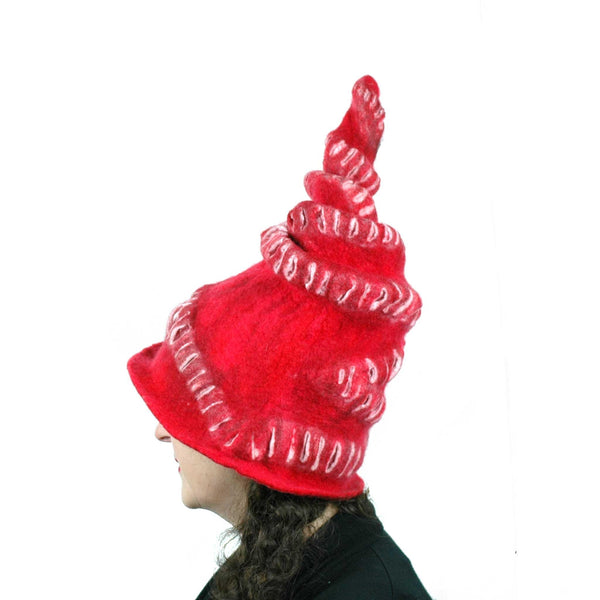Red Felted Witch Hat with Spiral Point - side view