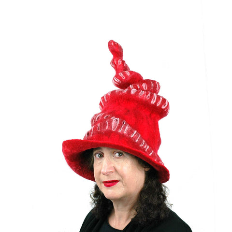 Red Felted Witch Hat with Spiral Point - three quarters view