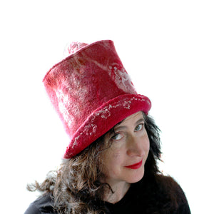 Red Valentines Heart Top Hat - three quarters view