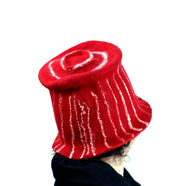 Red Top Hat with White Stripes - back view