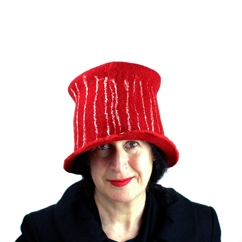 Red Top Hat with White Stripes - front view