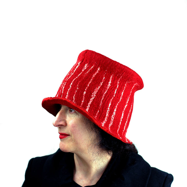 Red Top Hat with White Stripes - profile view