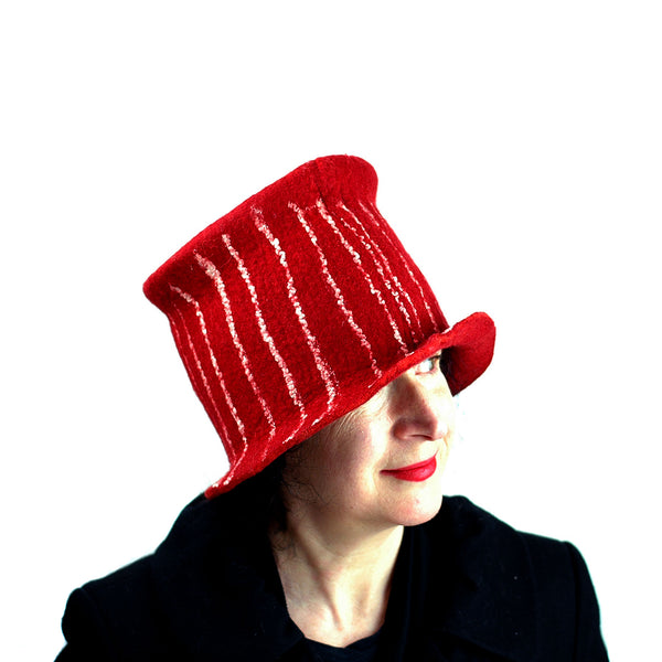 Red Top Hat with White Stripes - three quarters view