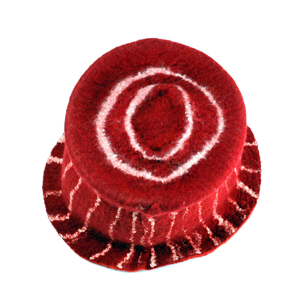 Red Top Hat with White Stripes - top view