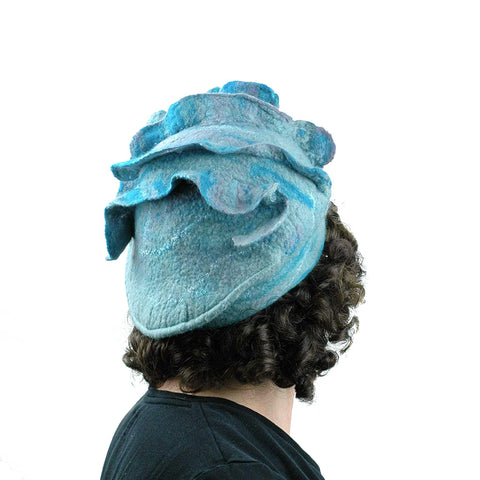 Ruffled Blues Felted Beret - back view