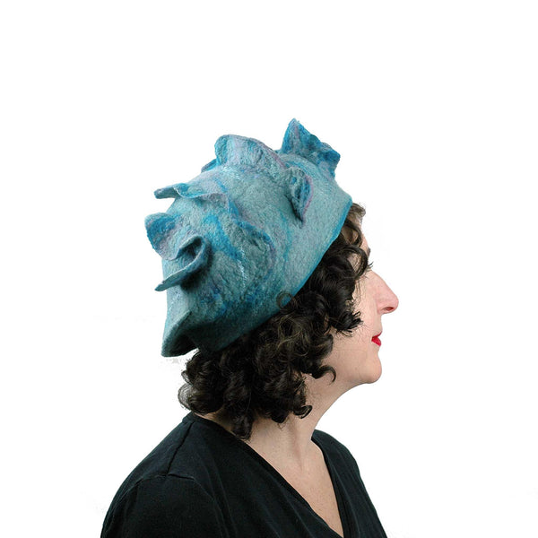 Ruffled Blues Felted Beret -side view