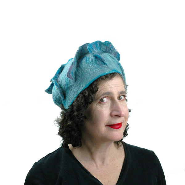 Ruffled Blues Felted Beret - three quarters view