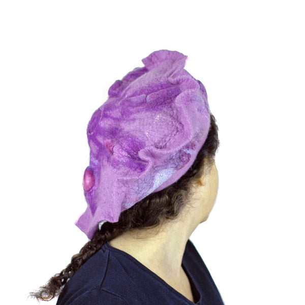 Ruffled Purple Beret -back view