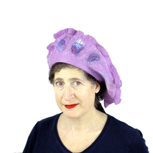 Ruffled Purple Beret - front view