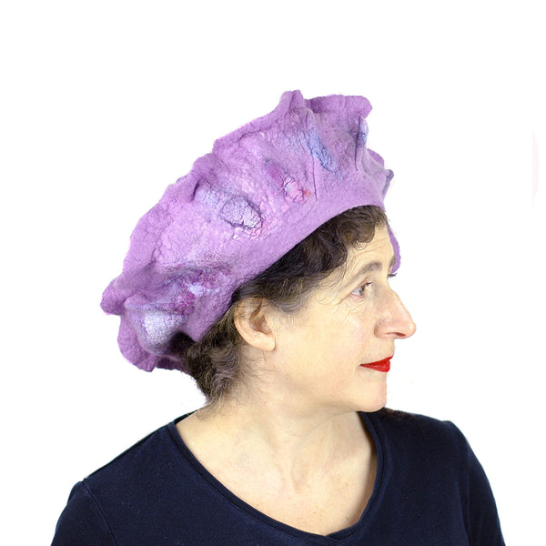 Ruffled Purple Beret - side view