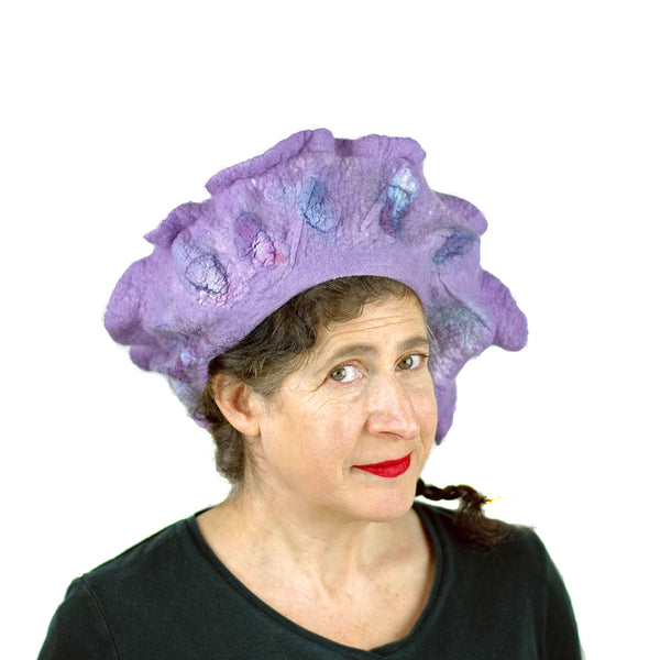 Ruffled Purple Beret - three quarters view