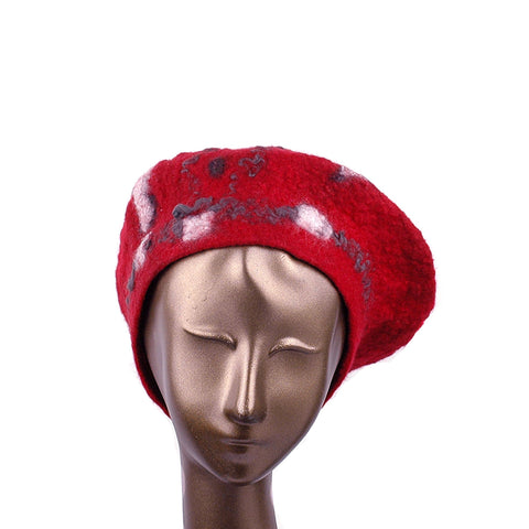 Russian Constructivist Inspired Red and Black Felted Beret - front view