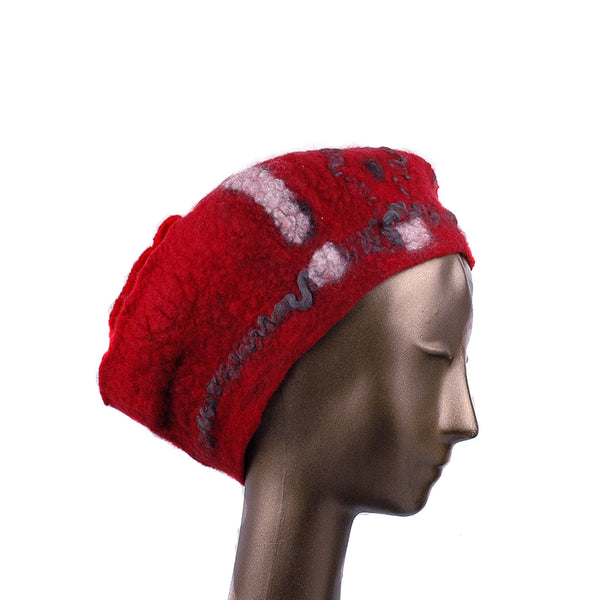 Russian Constructivist Inspired Red and Black Felted Beret - side view