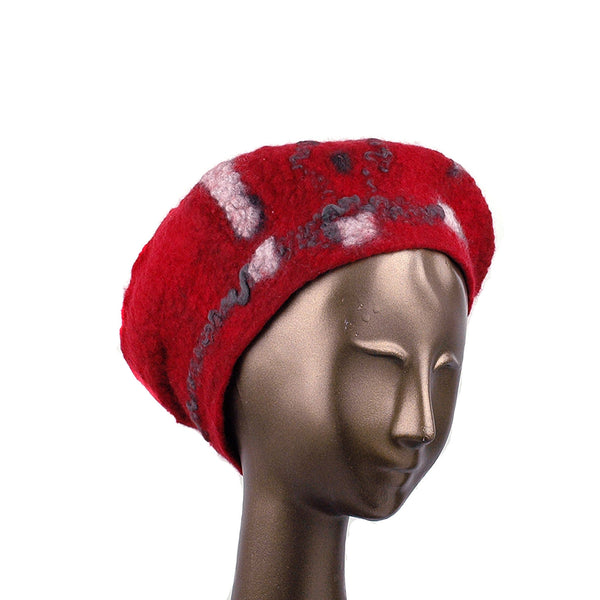 Russian Constructivist Inspired Red and Black Felted Beret - three quarters view
