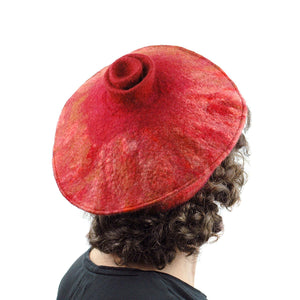 Rust Colored Felted Beret - back view