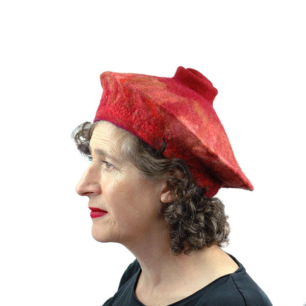 Rust Colored Felted Beret - side view