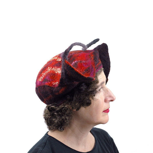Sculptural Felted Red Leaf Hat - side view