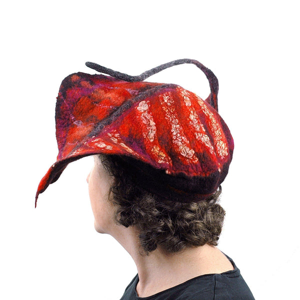 Sculptural Felted Red Leaf Hat - back view