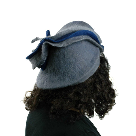 Sculptural Gray Beret with Navy Blue Wave - back view