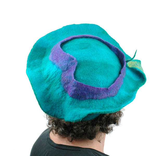 Sculptural Peacock Inspired Felted Hat - back view