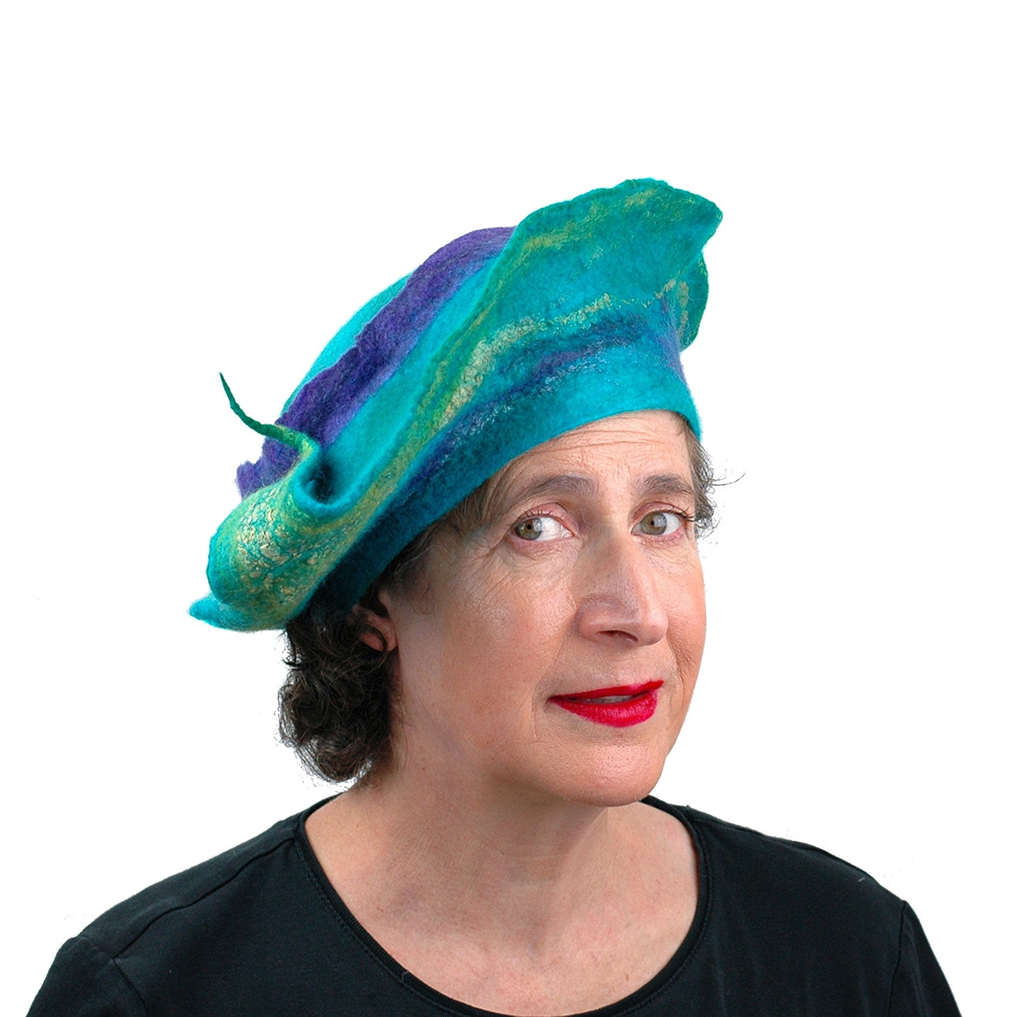 Sculptural Peacock Inspired Felted Hat - front view