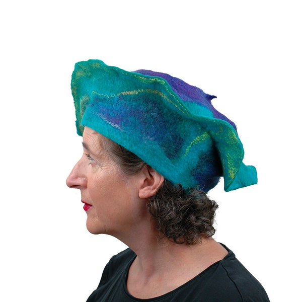 Sculptural Peacock Inspired Felted Hat - side view