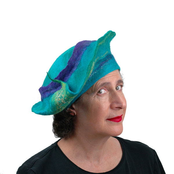Sculptural Peacock Inspired Felted Hat - three quarters view