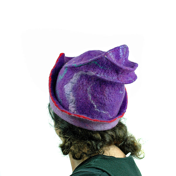 Fun, Sculptural, Purple and Red Felted Hat - back view
