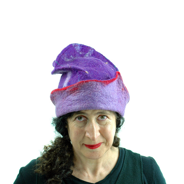 Fun, Sculptural, Purple and Red Felted Hat - front view