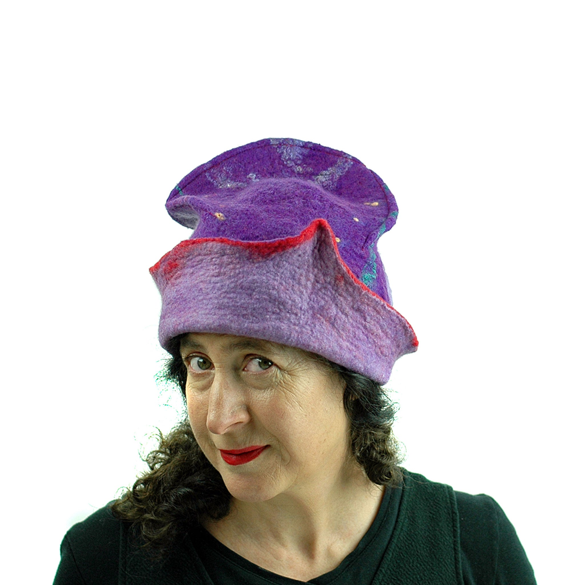 Fun, Sculptural, Purple and Red Felted Hat - three quarters view