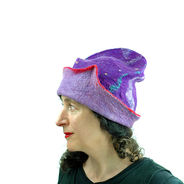 Fun, Sculptural, Purple and Red Felted Hat - side view