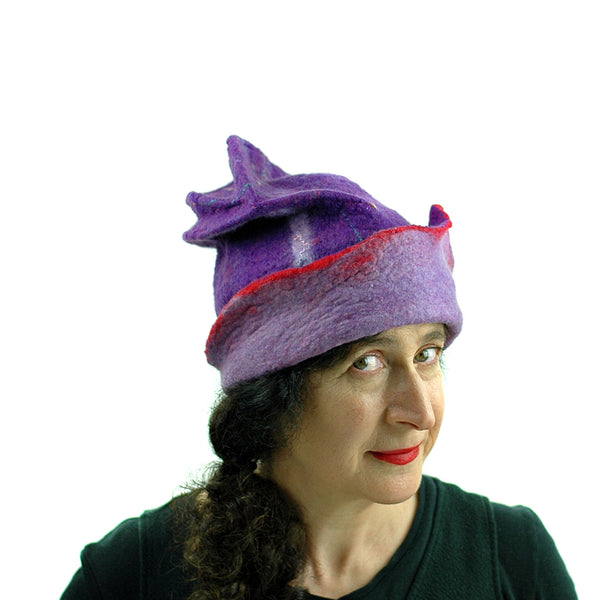 Fun, Sculptural, Purple and Red Felted Hat - three quarters view 3