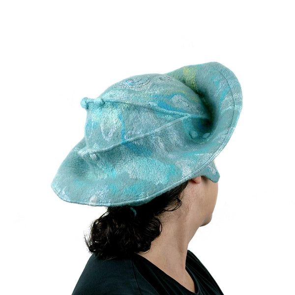 Seafoam Green Medieval Style Felted Hat that Covers Ears - back view