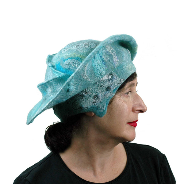 Seafoam Green Medieval Style Felted Hat that Covers Ears - side view