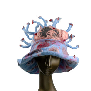 Separate Yet Connected Coronavirus Inspired Felted Cloche Hat - front view