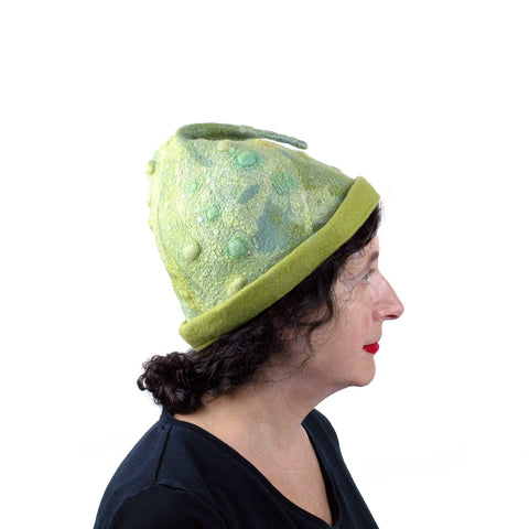 Shades of Green Beanie Hat with Playful Fish Tail - Medium Size - side view