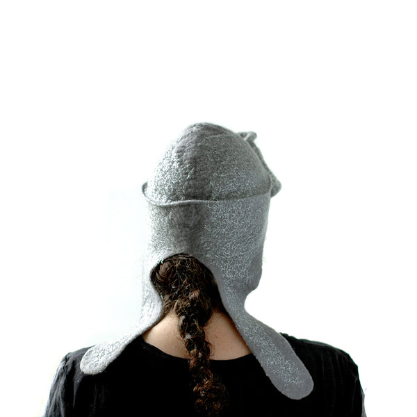 Silver Aviator Hat with Earflaps - back view