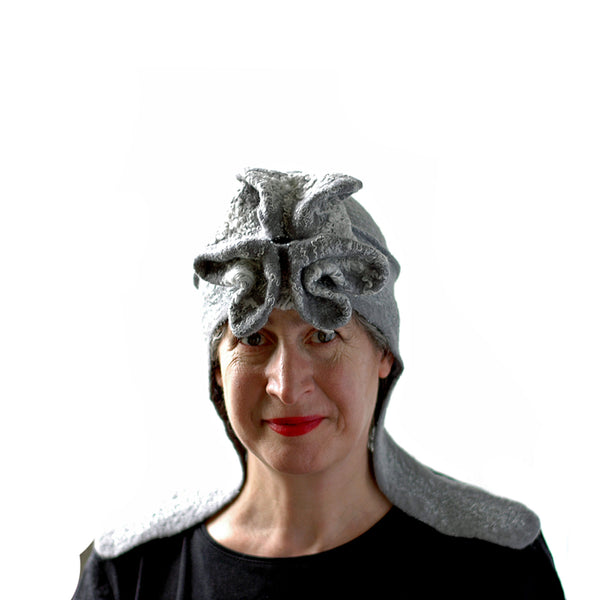 Silver Aviator Hat with Earflaps - front view