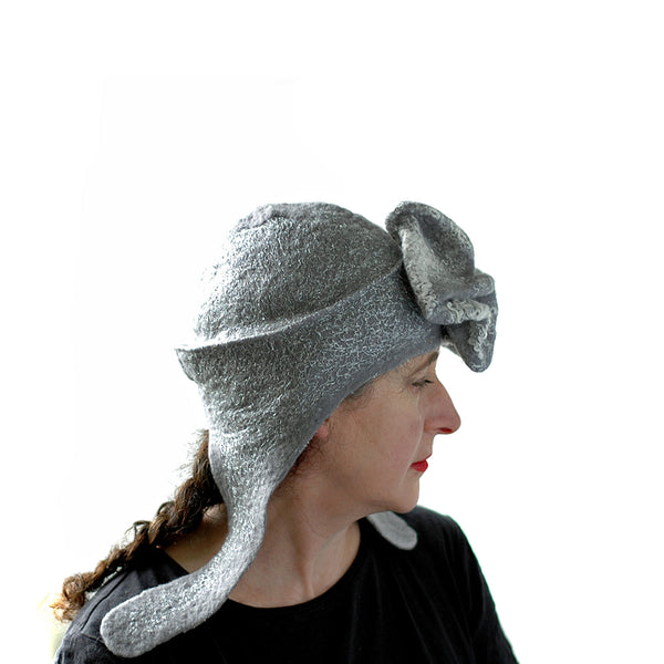 Silver Aviator Hat with Earflaps - side view 2