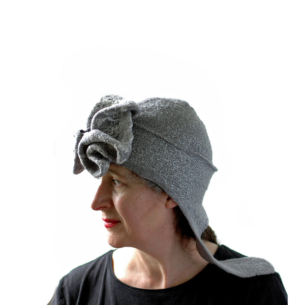 Silver Aviator Hat with Earflaps - side view