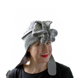 Silver Aviator Hat with Earflaps - three quarters view